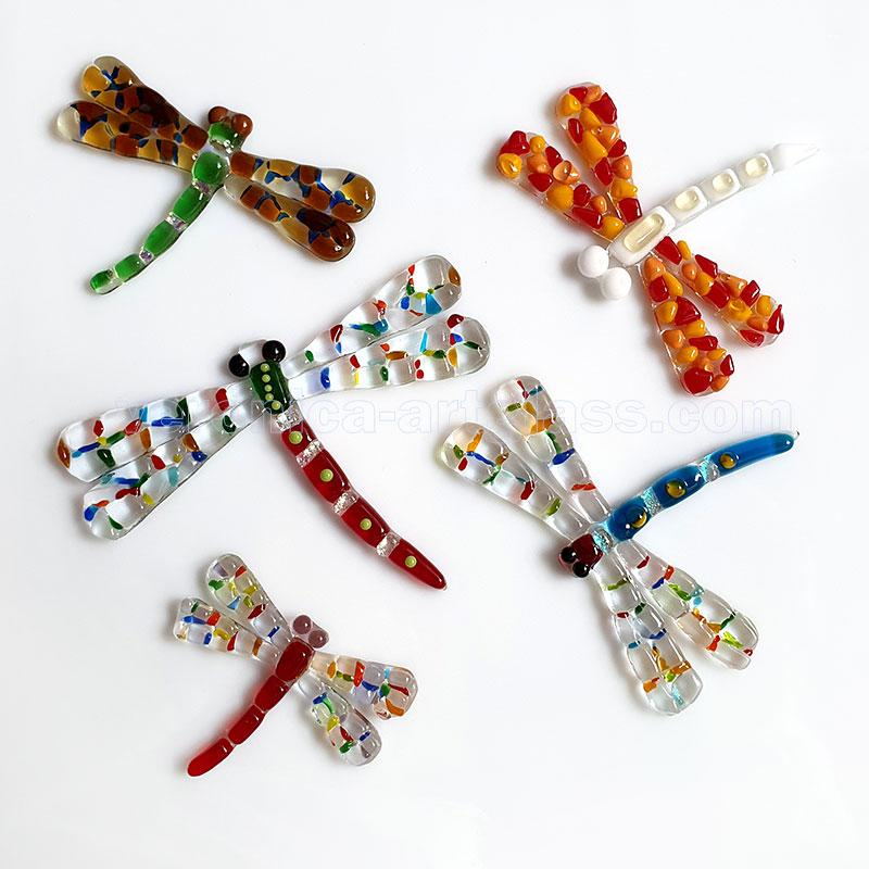 Fused glass dragonfly of fused glass