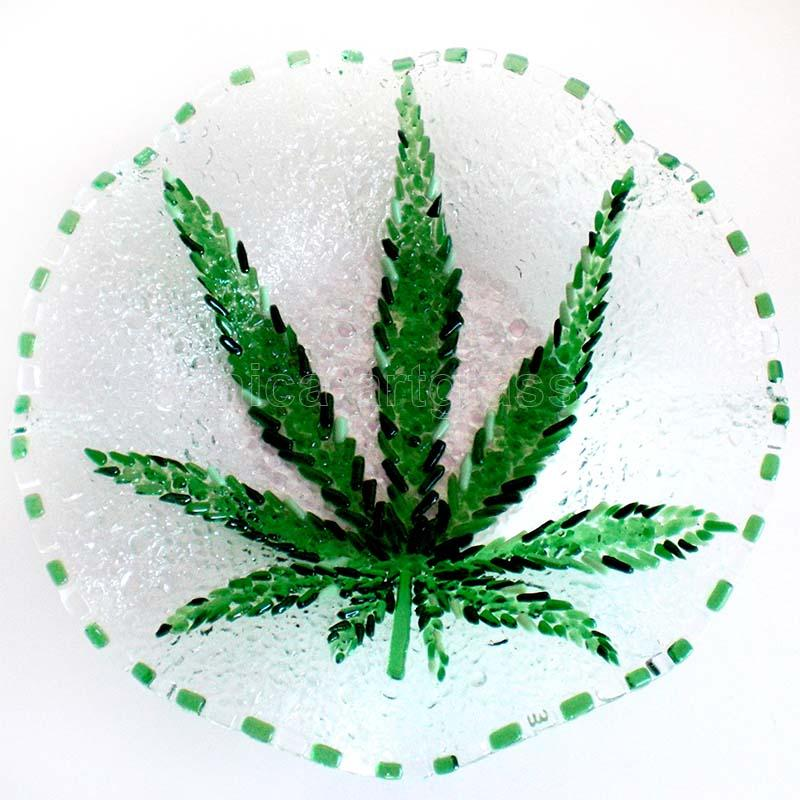 Fused Glass Bowl FUNNY GRASS
