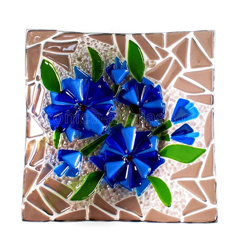 Fused glass bowl of fused glass fusing CORNFLOWER