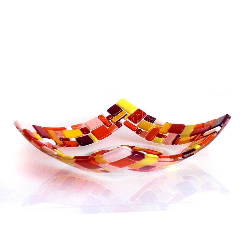 Fused Glass Bowl ICE AND FIRE