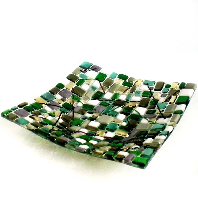 Fused glass bowl of fused glass fusing JUNGLE