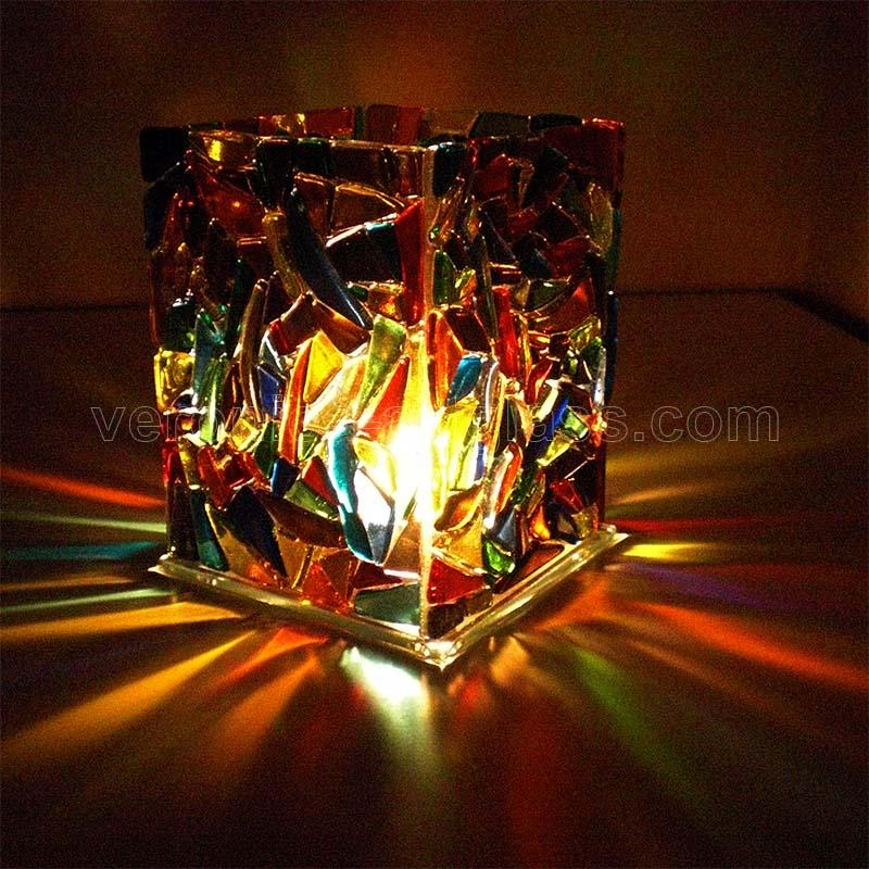 Fused Glass Candle Holder NIGHT CITY LIGHTS