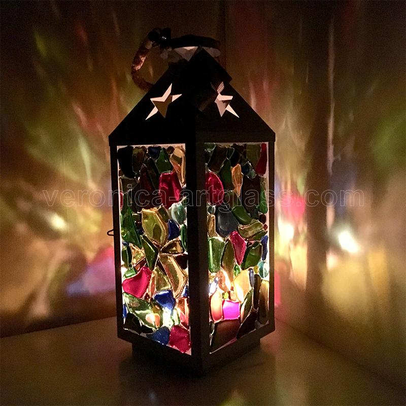 Fused glass candle lamp CHRISTMAS NIGHT