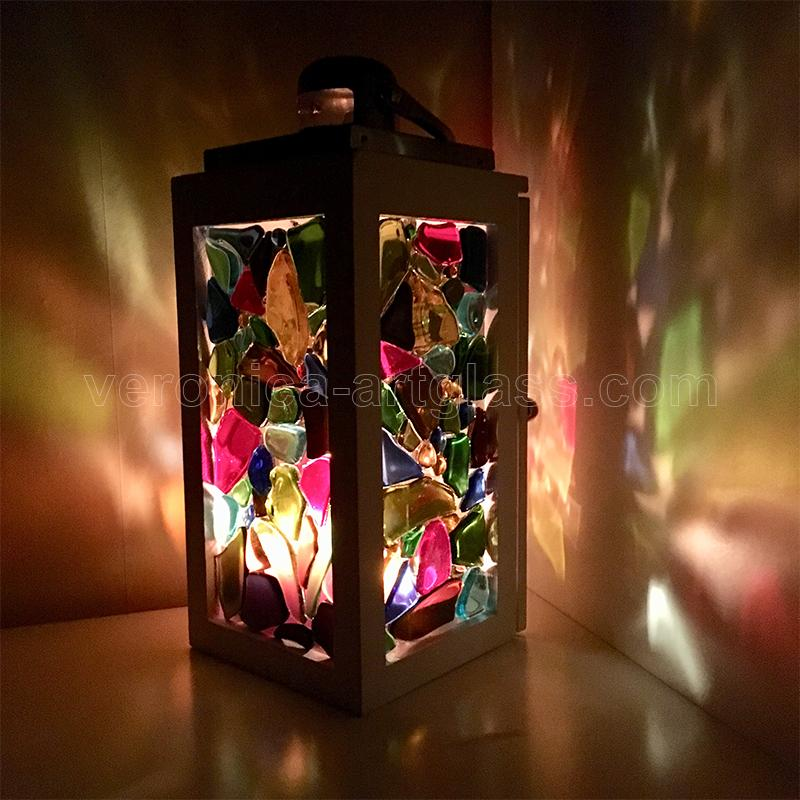 Fused glass candle lamp MAGIC LIGHTS