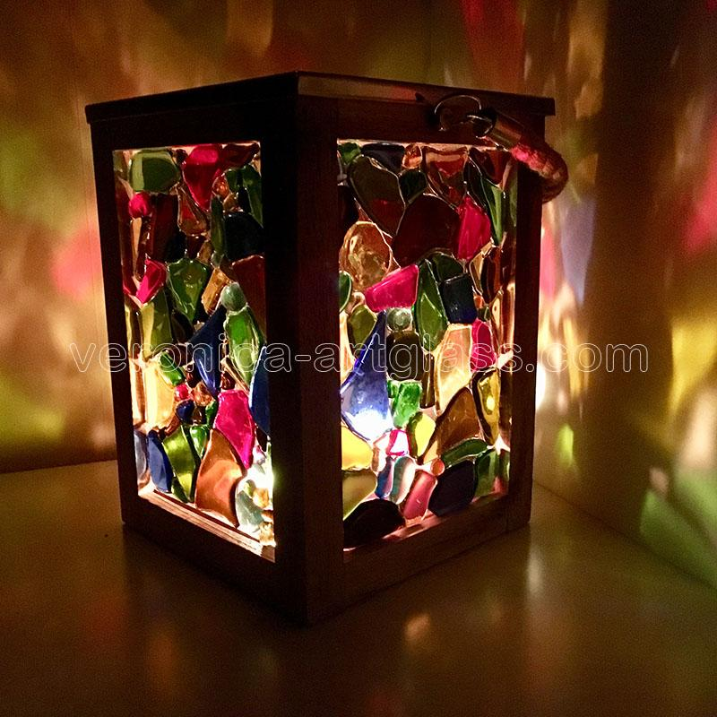 Fused glass candle lamp of fused glass