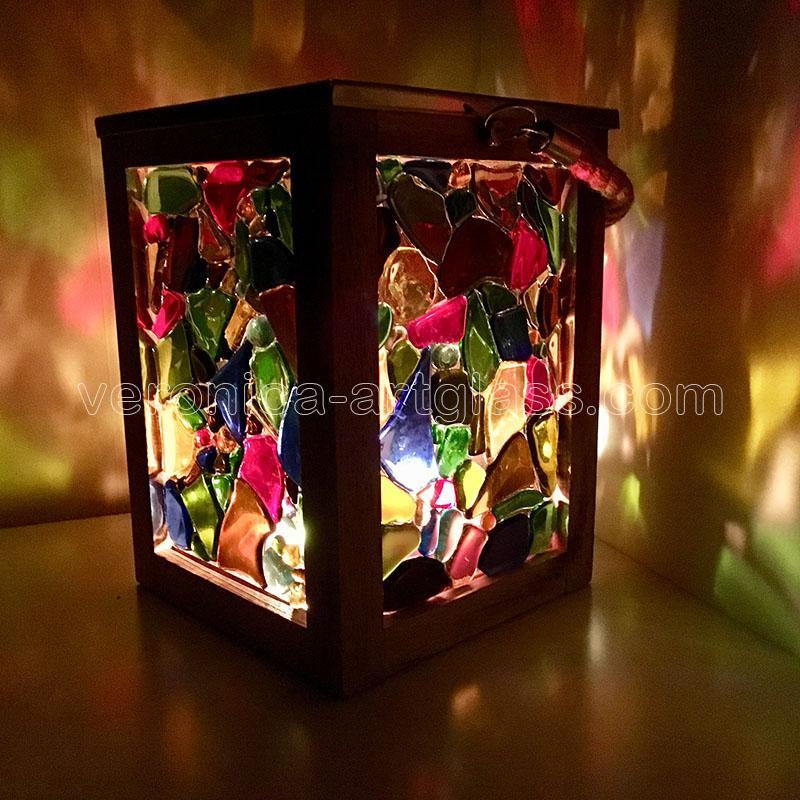 Glazen kaarslamp MIDDERNACHT