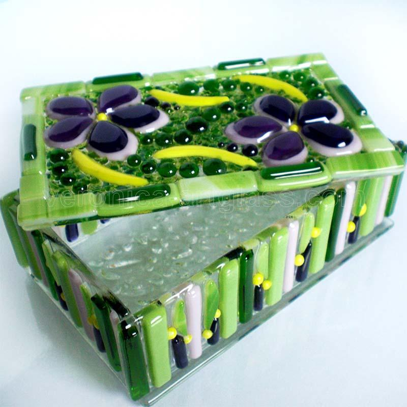 Fused Glass Casket VILLAGE GARDEN
