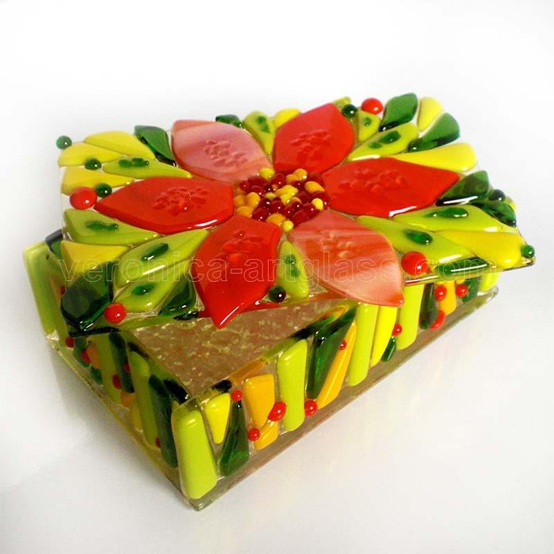 Fused glass casket of fused glass fusing FIRE FLOWERS