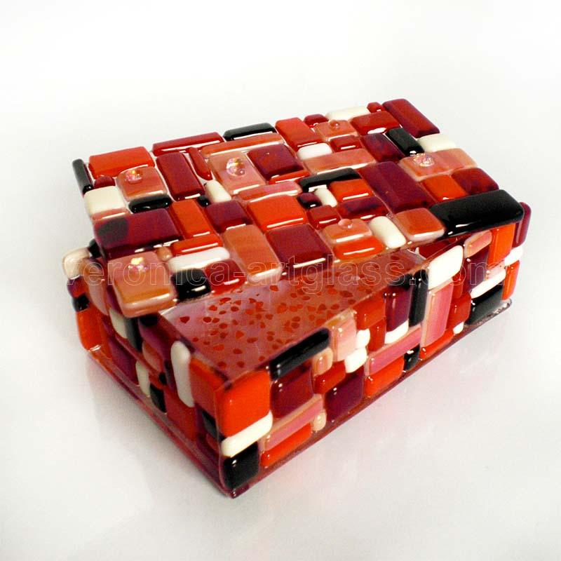 Fused glass casket of fused glass fusing GARNET BOX
