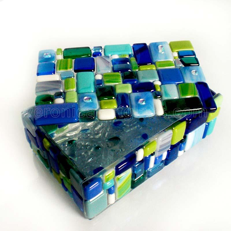 Fused Glass Casket MALACHITE BOX