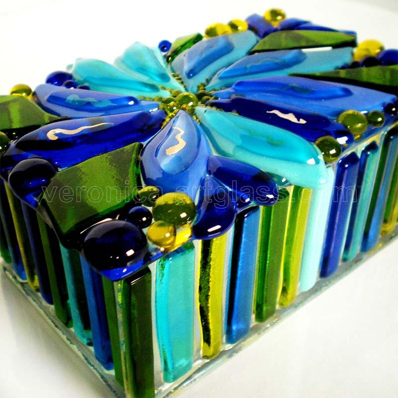 Fused glass casket of fused glass fusing WATER FLOWER
