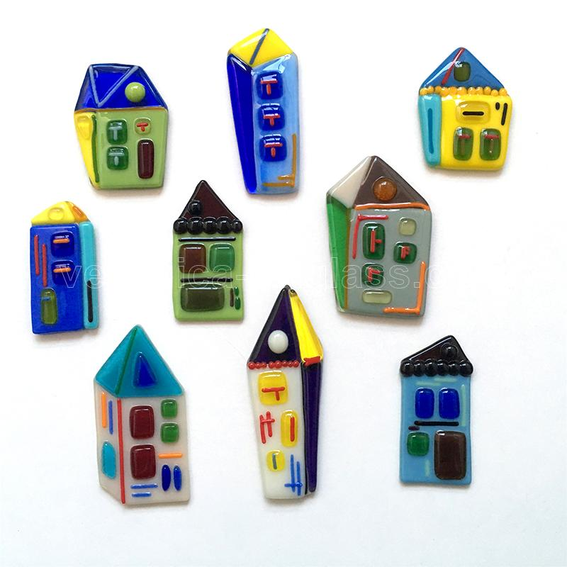 Fused glass small houses of fused glass