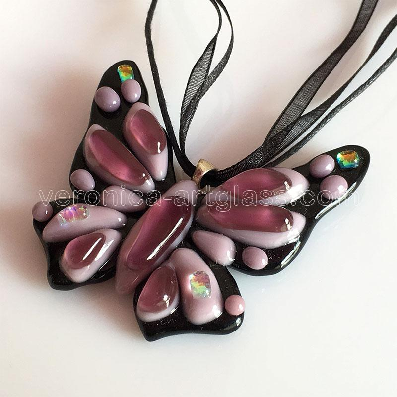 Art Fused Glass Pendant BUTTERFLY