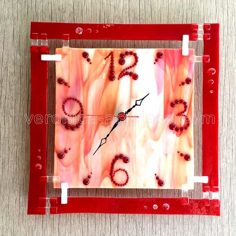 Fused glass wall clock of fused glass fusing RED MARBLE