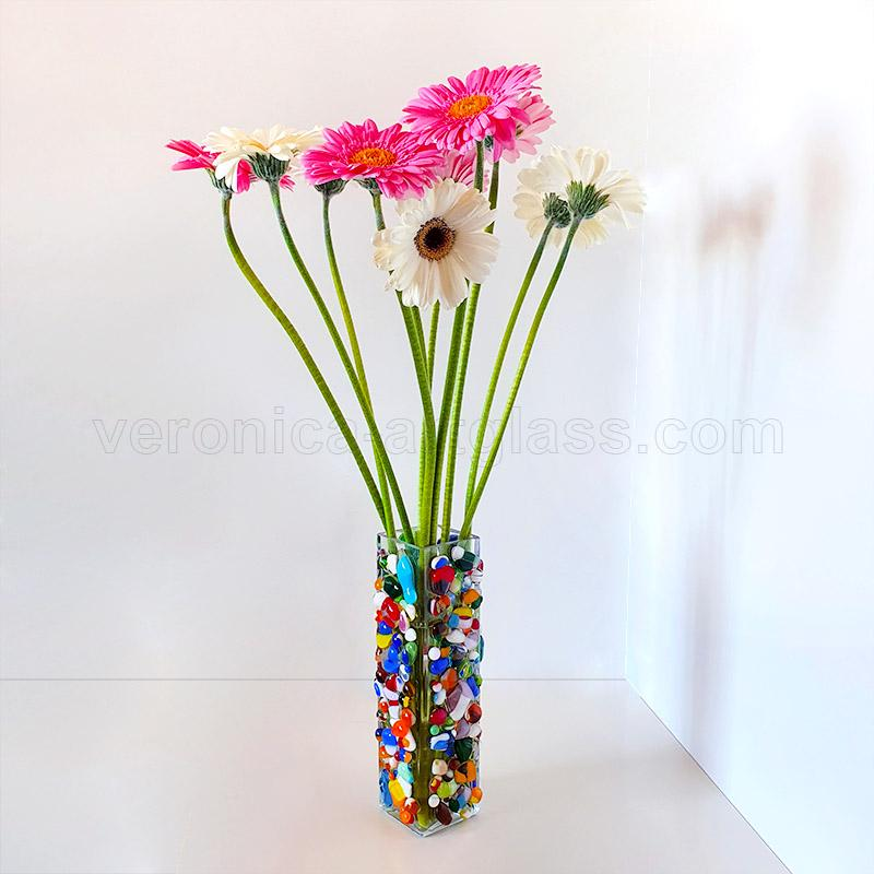 Fused glass vase FIREWORK