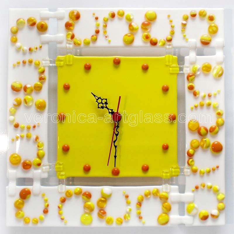 Fused Glass Wall Clock MAZE
