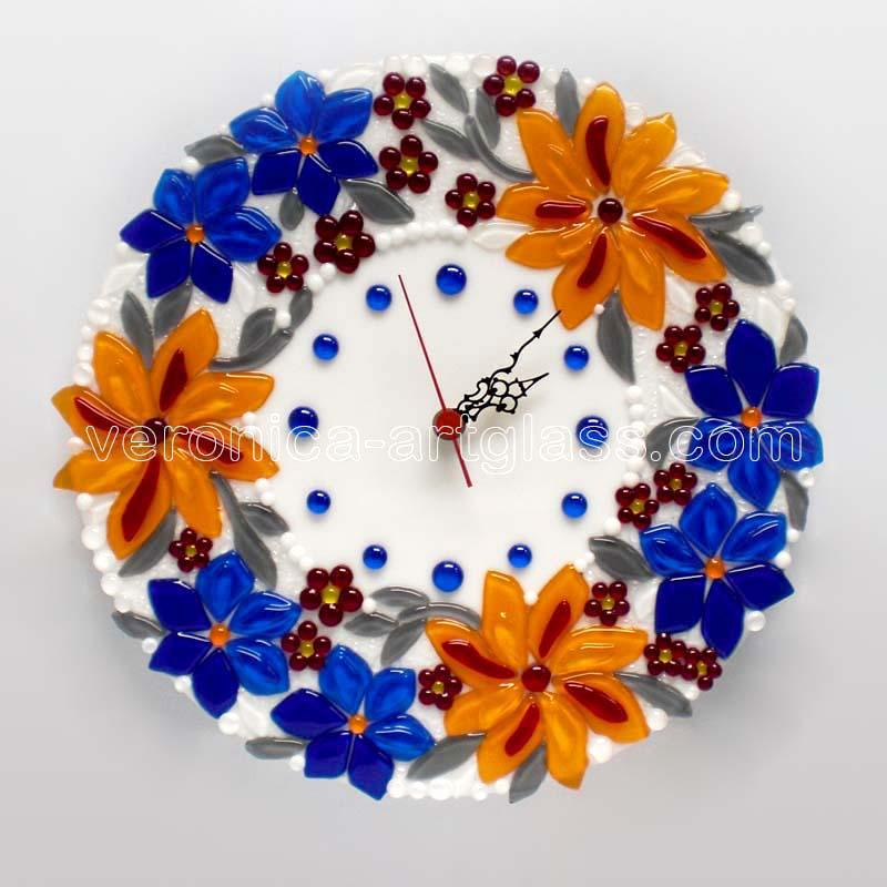 Fused glass wall clock of fused glass fusing FIELD OF FLOWERS