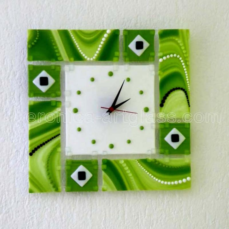 Fused glass wall clock of fused glass fusing GREEN LAKE