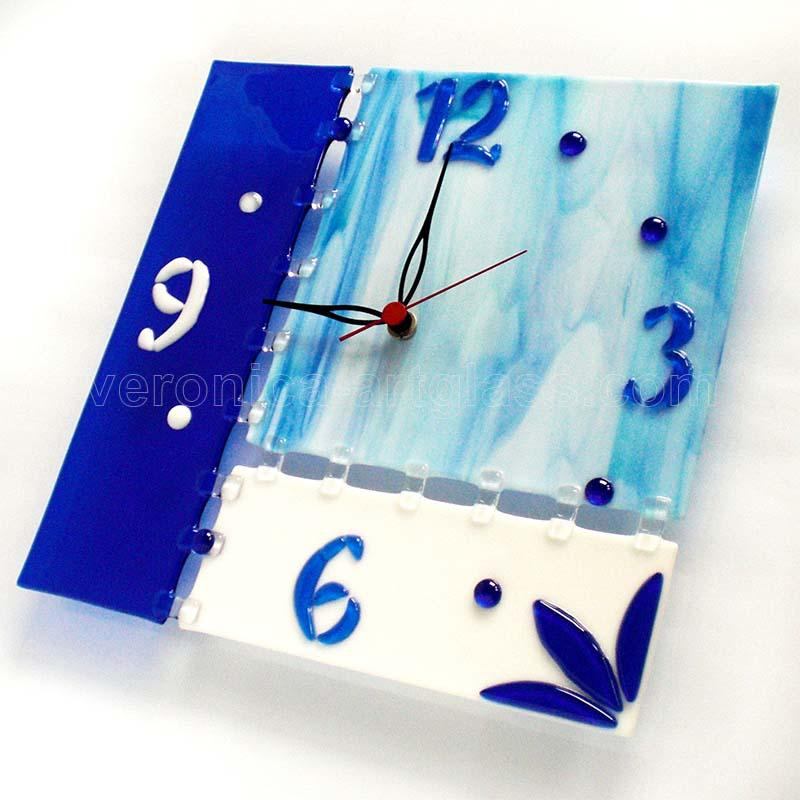 Fused glass wall clock of fused glass fusing ICE AGE