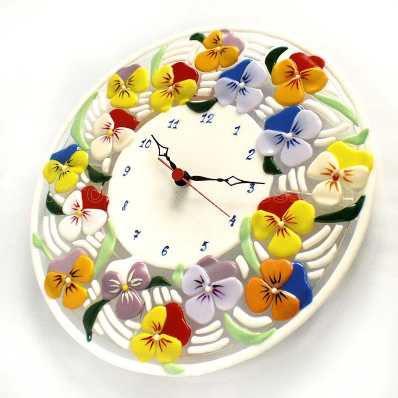 Fused glass wall clock of fused glass fusing PANSIES