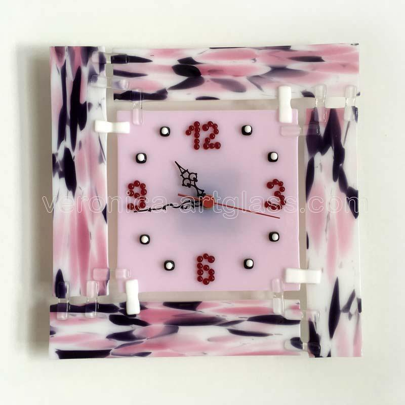 Fused glass wall clock of fused glass fusing PINK MARBLE