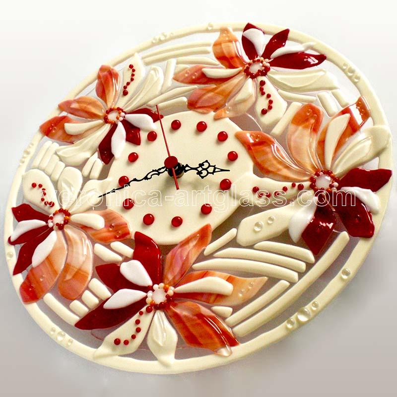 Fused glass wall clock of fused glass fusing RED PEARL FLOWERS