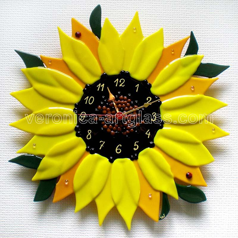 Fused Glass Wall Clock SUNFLOWER