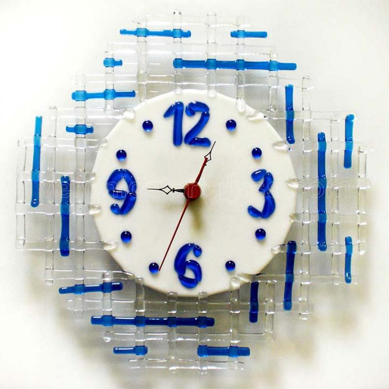 Fused glass wall clock of fused glass fusing TEARS OF HAPPINESS