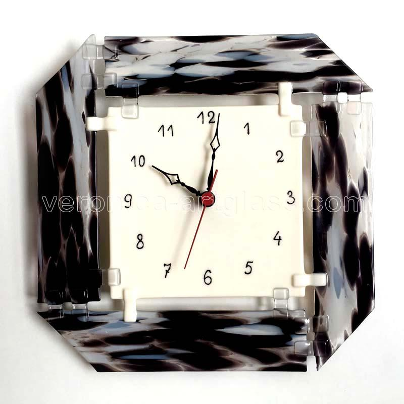 Fused glass wall clock of fused glass fusing WINTER TIME