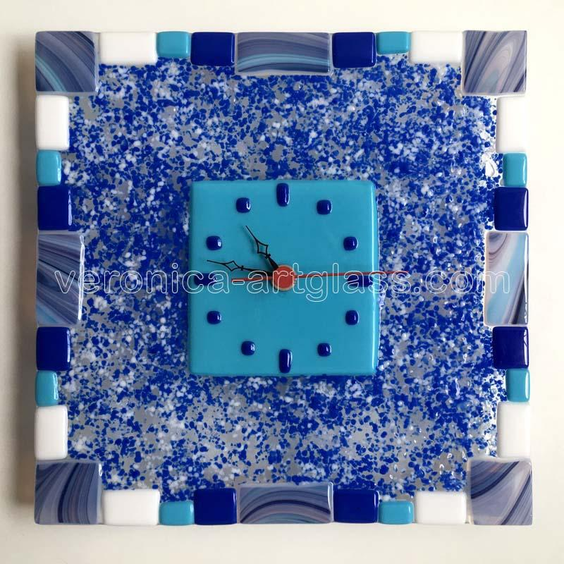Fused Glass Wall Clock FROZEN TIME
