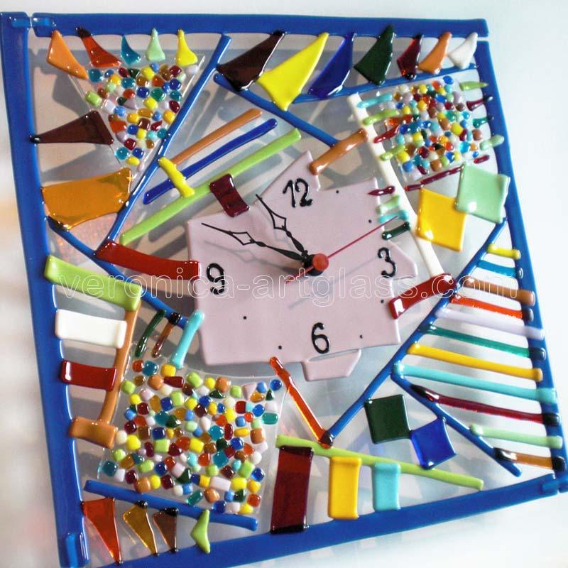Fused Glass Wall Clock CHAOS