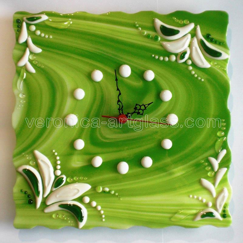 Fused glass wall clock of fused glass