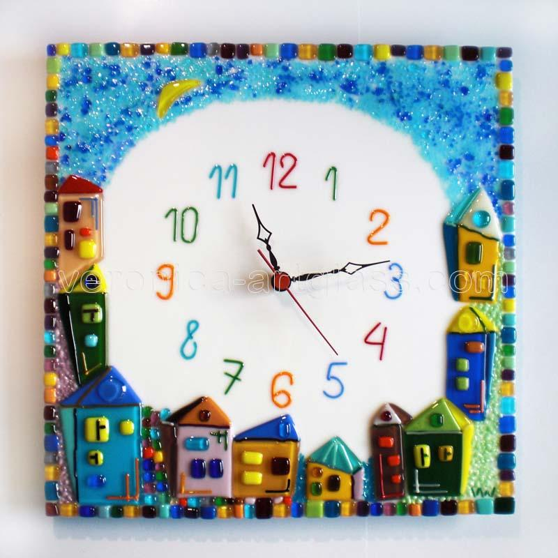 Fused Glass Wall Clock CHILD'S TOWN