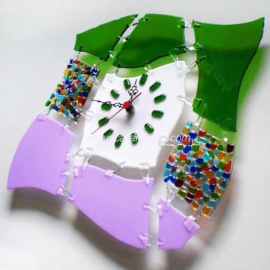 Fused Glass Wall Clock IMPRESSION