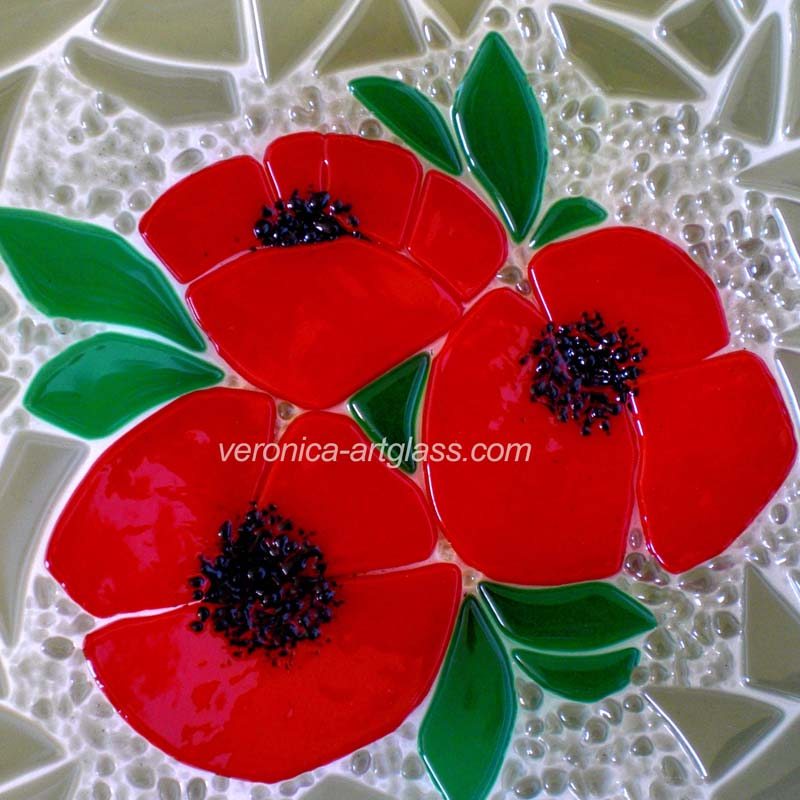 Fused Glass Bowl Poppies Fused Glass Fusing